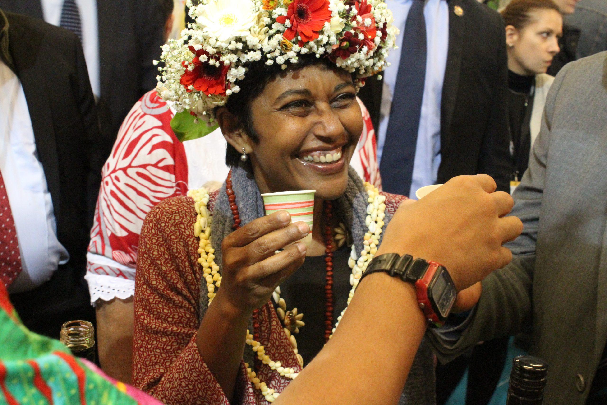 Ericka Bareigts la ministre des outres mer en visite sur le stand
